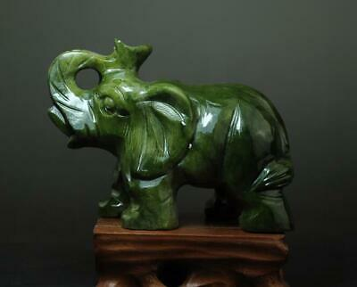 china old hand-made south natural jade water absorption elephant statue 02 b02