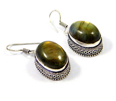 Labradorite .925 Silver Plated Carving Earring Jewelry JC9223