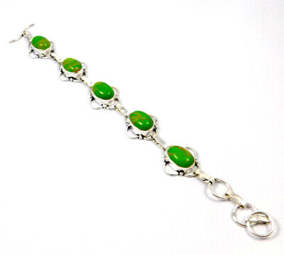 Green Copper Turquoise .925 Silver Plated Handmade Bracelet Jewelry KD503