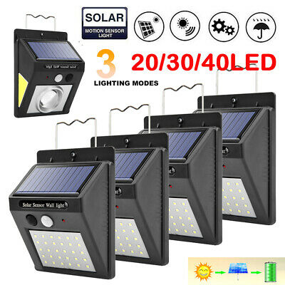 4 pack 20/30/40LED Solar Power Motion Sensor Wall Light Waterproof Garden Lamp