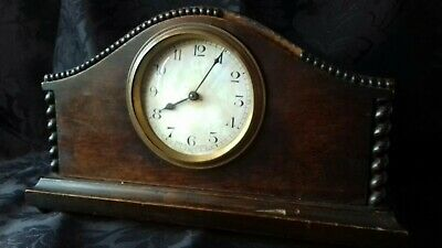 Antique wooden mantel clock in need of restoration made France on dial Antique .