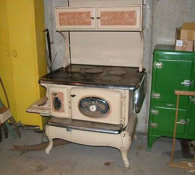 Antique Porcelain Cast Iron & Nickel Vintage Kitchen Stove
