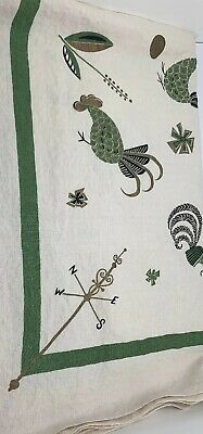 "vintage 65"" Tablecloth Stylized Roosters, Chickens, Weather Vanes Green Gold"