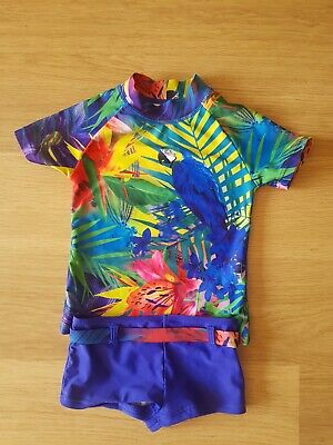 Lovely Next Girls 2 Piece Bue Tropical Print UPF 50+ Sun Safe Swimsuit Age 3 Yrs