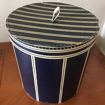 Vintage Antique Hat Box French Navy Cream Striped Decorative Display Shop Rare