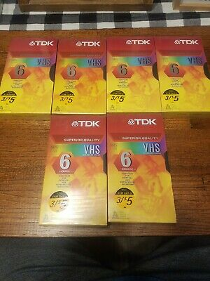 Lot Of 6 Factory Sealed TDK T-120 VHS Cassette Tapes