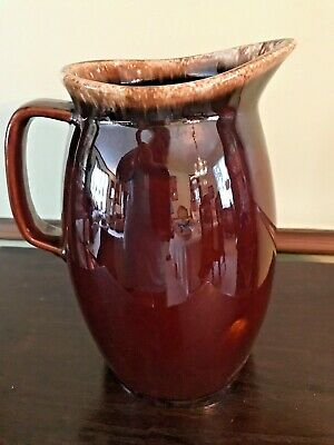 Large Vintage Hull USA Pottery Brown Drip Pattern  Pitcher