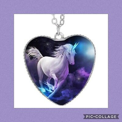 Unicorn and Butterfly Cabochon silver Glass Locket Pendant Necklace HZ-4429