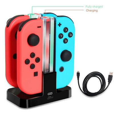 4Port Controller Charger Stand LED Charging Dock for Nintendo Switch Joy-Con Pro