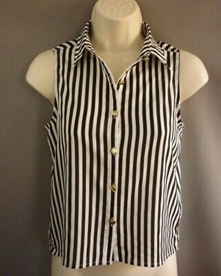 Black and White Stripe Sleeveless Blouse by New Look GENERATION  Age 11, Ex Con