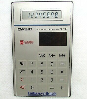 Vintage Casio SL-900 Film Card Calculator very slim RARE EMBASSY HOTELS VIP