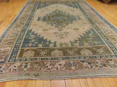 Rare Antique Ca1900-1939's Muted Colors, Wool Pile Oushak Area Rug 5x9ft