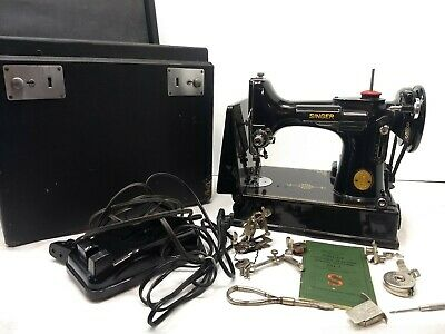 1947 SINGER 221-1 Featherweight Sewing Machine w/Pedal, Case, Attachments & More