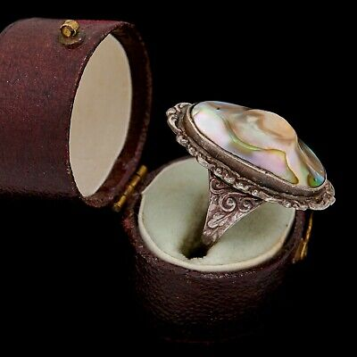 Antique Vintage Nouveau Sterling Silver Rococo Abalone Blister Pearl Ring Sz 5.5