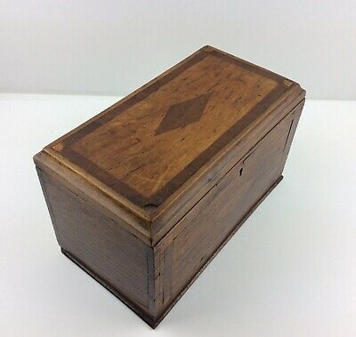 Beautiful Antique Vintage Large Inlayed Oak Wooden  Box With Two Compartment.