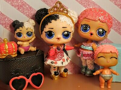 Lol surprise dolls, HEARTBREAKER & ICE SKATER. Lot of 4. 2 Big & Lil sis pairs