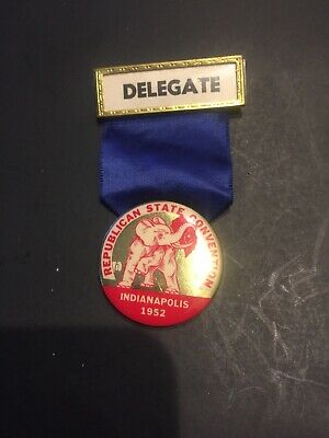 Fine Original 1952 Indianapolis State Convention Delegate Badge And Ribbon Pin