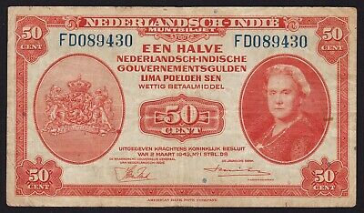 Netherlands Indies 50 Cent 1943 banknote P-110a