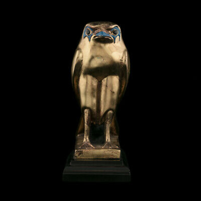 Statuette of the Ancient Egyptian god Horus in Falcon Form, Golden Statuette