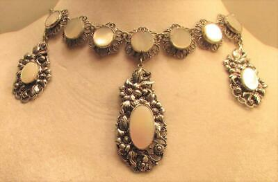 Vintage 50's Chunky Flower Mother of Pearl Drop Bead Bib Necklace