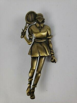 TENNIS PIN BROOCH Woman, signed JJ on back JONETTE, Brushed Shiny antique brass