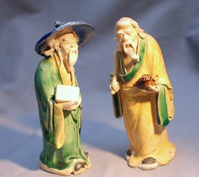 """Antique Chinese Shiwan Mud Men (2) Figurines """"China"""" Hand Sculpted ca.1920"""