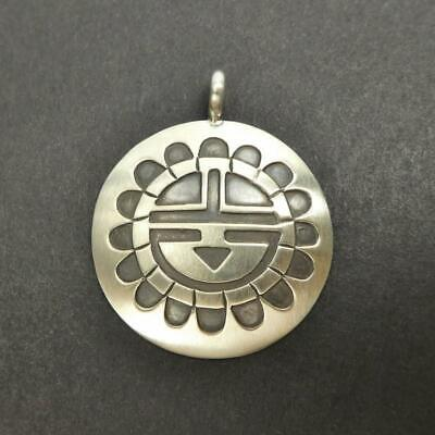 Native American Navajo Stanley Gene 925 Sterling Silver Sunface Round Pendant