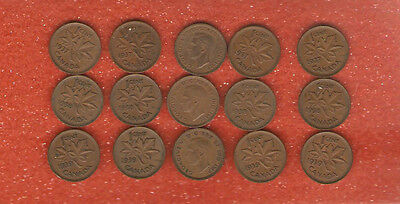 15 King George VI One Cent Coins 5-1937 5-1938 5-1939