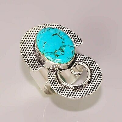 Natural Tibetan Turquoise Jewelry 925 Sterling Silver Plated Ring 8
