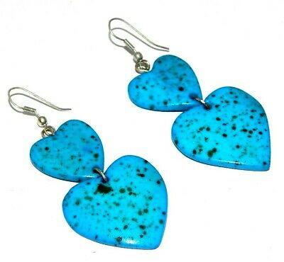 Graceful Fashion Sky Blue Painted Design Bone Earrings Antique Jewelry J584