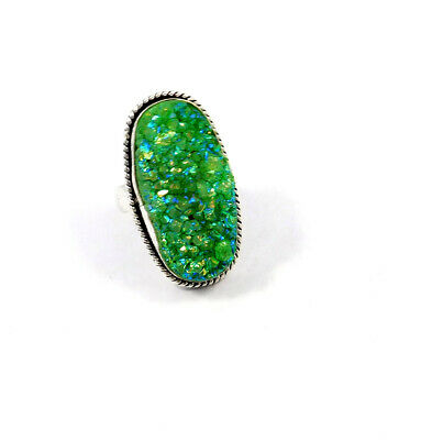 Green Crystal Druzy .925 Silver Plated Handmade Ring Size-8 Jewelry JC9074