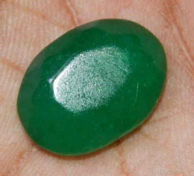 top Dyed Faceted Beryl Emerald Wonderful  Loose Gemstone 14 ct 21x15mm F209