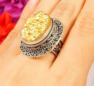 Lovely Golden Druzy Silver Hand Carving Jewelry Ring Size 7.75 JC3086