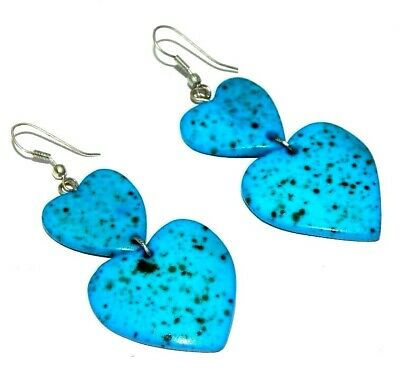 Graceful Fashion Sky Blue Painted Design Bone Earrings Antique Jewelry J307