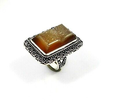 Charming Sugar Druzy Agate Silver Carving Jewelry Ring Size 8.25 JT2360