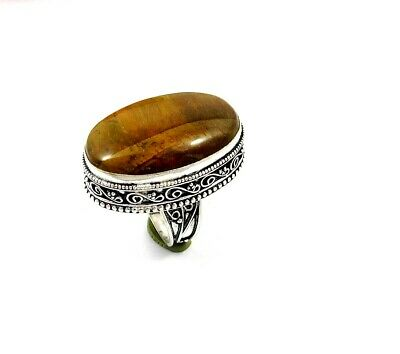 Charming Tiger's Eye Silver Carving Jewelry Ring Size 8.75 JT2346