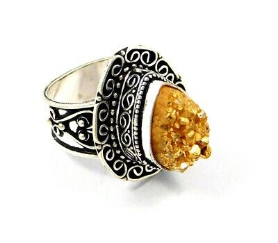 Lovely Sugar Druzy Silver Hand Carving Jewelry Ring Size 8 JC3264