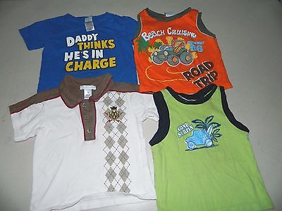 Lot Of 4 Shirts Tank Tops Boys Size 18 Months Old Navy Little Rebels Now & Zen +