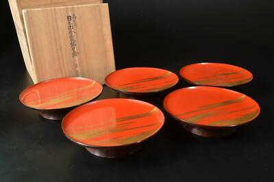 U57: Japanese Wooden Lacquer ware SERVING PLATE/dish 5pcs, w/signed box