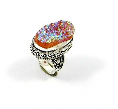 Charming Druzy Silver Carving Jewelry Ring Size 8.50 JT2378