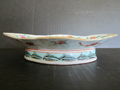 Antique Chinese Late Qing Dynasty Famille High Stand Plate