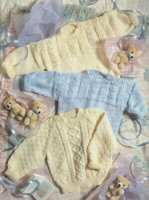 Baby Toddler Jumper Knitting Pattern 8 Ply Copy Pullover Button Shoulder Opening