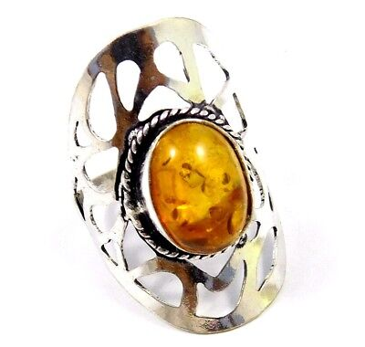 Baltic Amber .925 Silver Awesome Designer Ring Jewelry Ring Size 9 JC7782