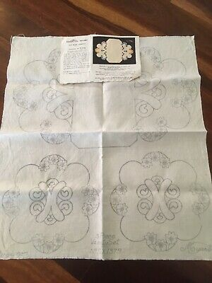 New Vintage Traced Linen Myart Cutwork Nemesis Duchess 3 Doily Set to embroider