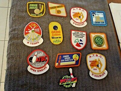 12 RETRO TEN PIN BOWLING SEW ON PATCHES . 1990s .