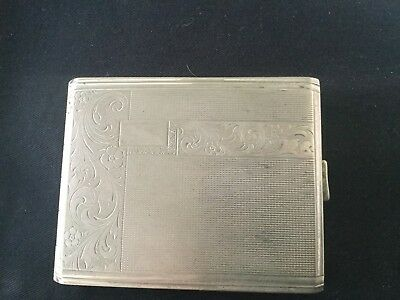 Alpacca Cigarette Case Engine Turned Scrollwork