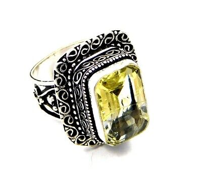 Lovely Doublet Quartz Silver Hand Carving Jewelry Ring Size 7.25 JC3236