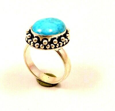 A+++ Charming Turquoise Silver Designer Jewelry Ring Size 8.75 JC6336