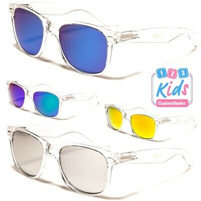 Kids / Children's Sunglasses - Boys / Girls - Clear Frame Mirror Lens 7-12 Years