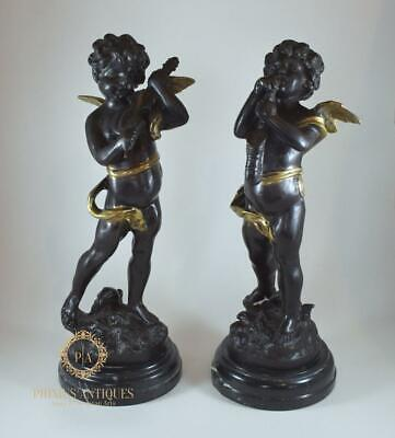 Pair Of Large Antique Bronze Putti Musicians After Louis Auguste Moreau Signed